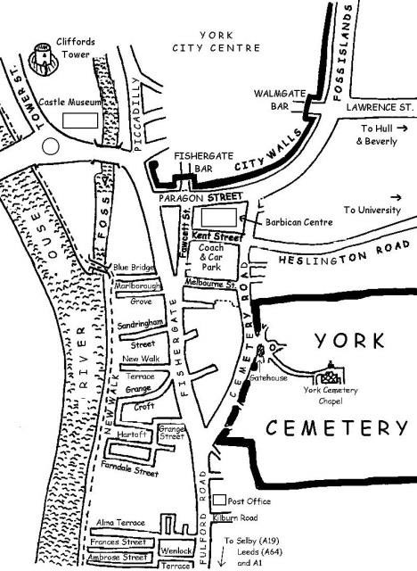 Map showing location of York Cemetery